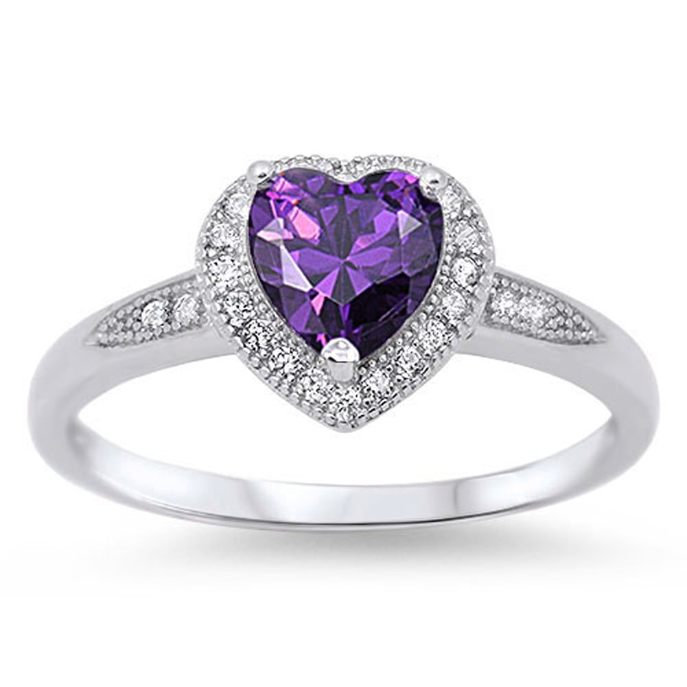 Women's Heart Simulated Amethyst Halo Promise Ring ( Sizes 4 5 6 7 8 9 10 ) .925 Sterling Silver Band Rings by Sac... by