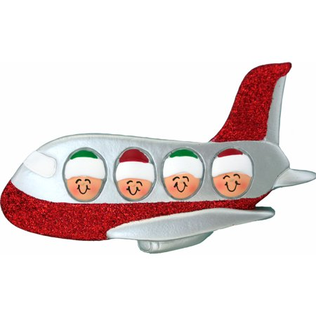 Family on Airplane 4 People Personalized Christmas Ornament - Airplane Christmas Lights