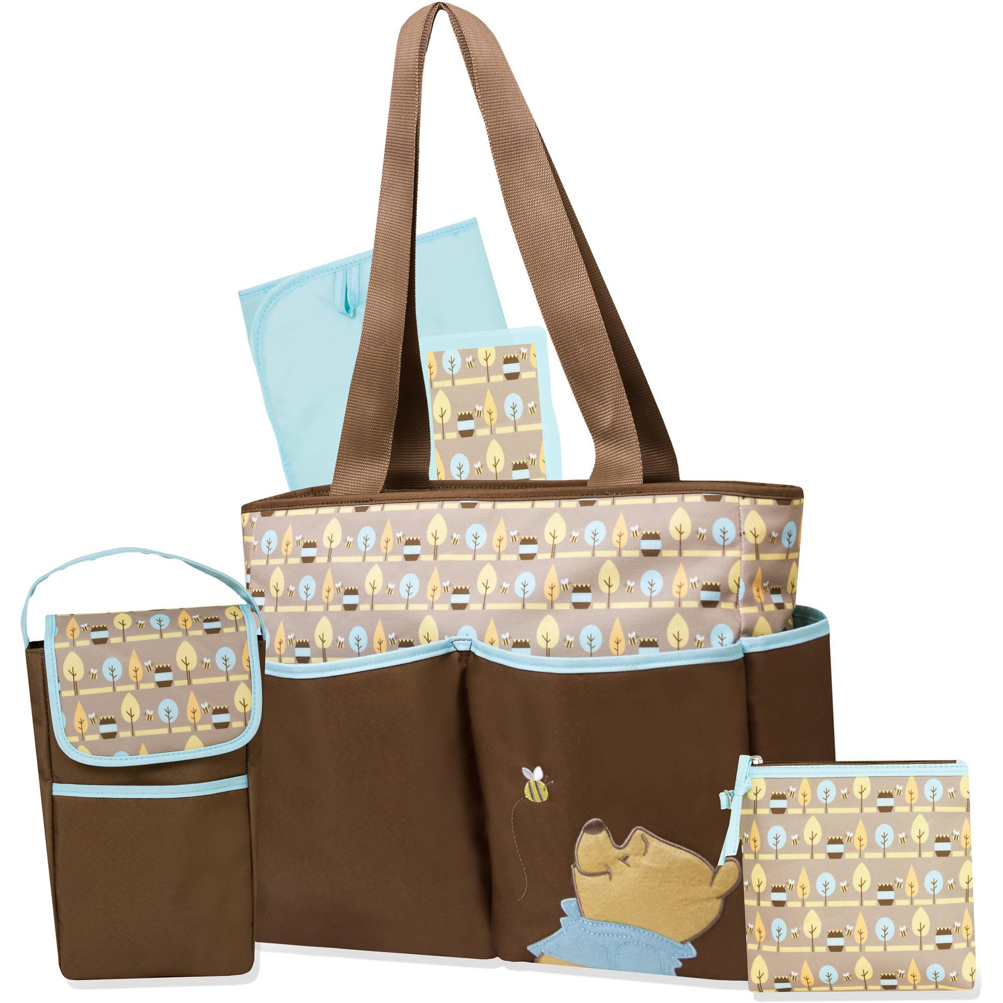 Disney Winnie the Pooh Brown Leaf 5-in-1 Diaper Bag