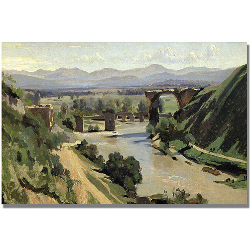 "Trademark Fine Art ""Nami, The Bridge Of Augustus"" Canvas Wall Art by Jean Baptiste Corot"