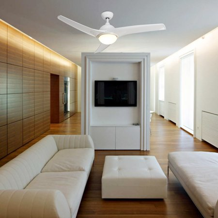 Contemporary Ceiling Fan With Led Panel Light Remote White Finish