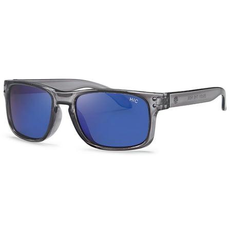 Hawaiian Island Creations Active Florida Kids Polarized Polycarbonate Sunglasses - Tranparent Gray Frame / Blue Revo Lenses