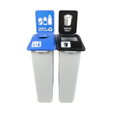 Busch Systems Waste Watcher Cans & Bottles| Waste - Double Stream 46 G w/ Sign Frames Indoor Container - image 2 de 2