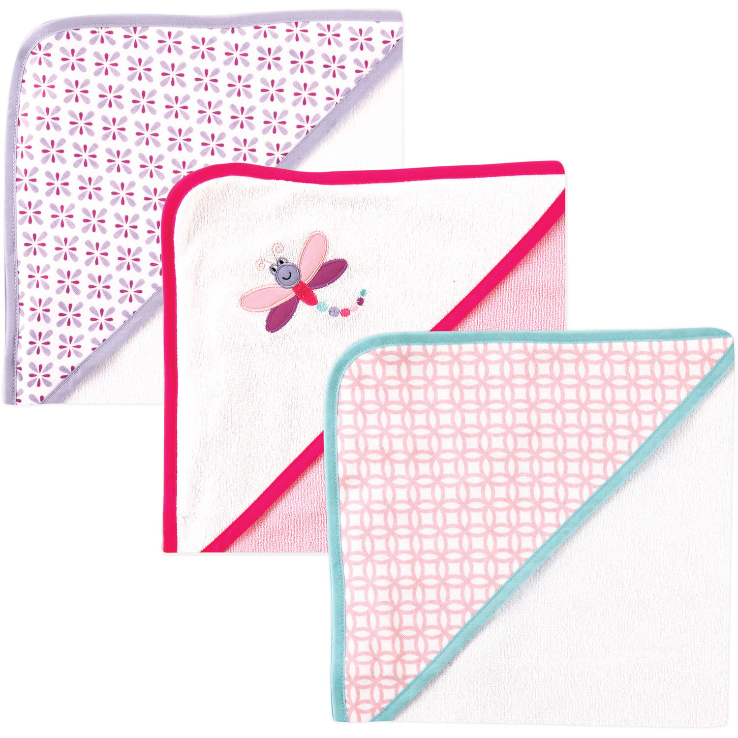 Luvable Friends Baby Girl Hooded Towels, 3-Pack, Dragonfly