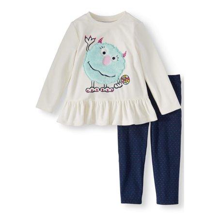 Summer Legging Outfits (Long Sleeve Ruffle Peplum Top & Leggings, 2-Piece Outfit Set (Toddler)
