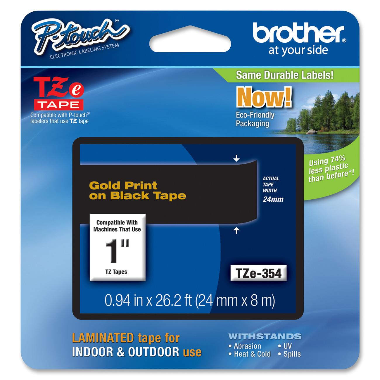 "Brother, VCT26402, P-touch TZe 1"" Laminated Tape Cartridge, 1 Each, Gold,Black"