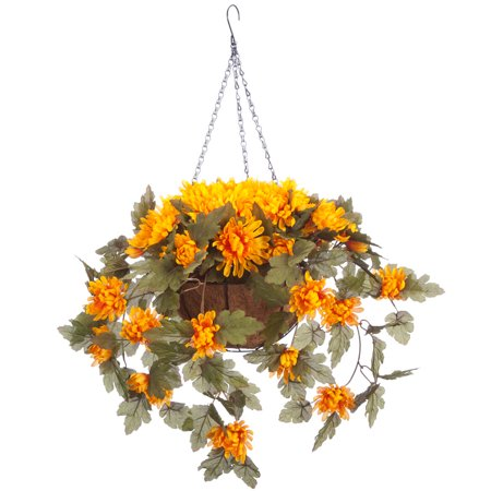"""OakRidge Fully Assembled Artificial Mum Hanging Basket, Gold, 10"""" Diameter with 18"""" Long Chain – Polyester/Plastic Flowers in Metal/Coco Fiber Liner Basket for Indoor/Outdoor Use (Mum Basket)"""
