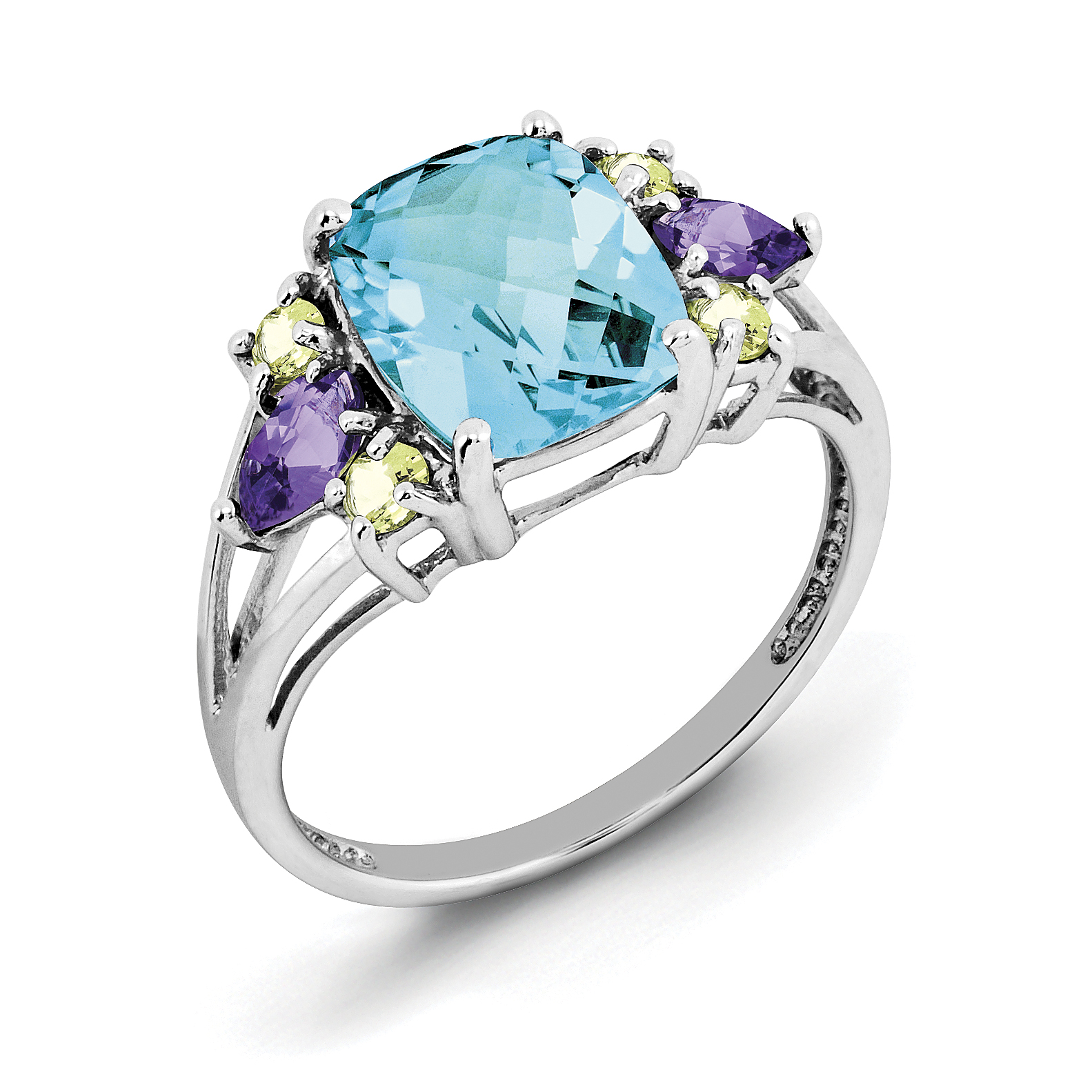Roy Rose Jewelry Sterling Silver Light Swiss Blue Topaz, Amethyst and Peridot Ring ~ Size 7 by