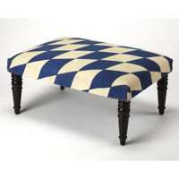 Butler Specialty Lucinda Blue and White Harlequin Cocktail Ottoman