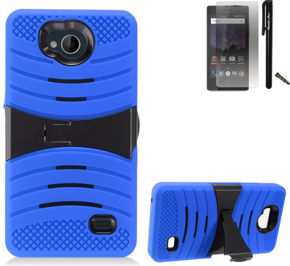 For ZTE Tempo N9131 Case / ZTE Majesty Pro LTE Case Symbiosis Armor Hybrid Silicone Phone Cover Plastic w/ Curve Stand Combo Pack (Black/Blue)