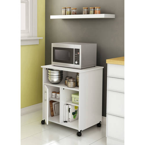 South Shore Smart Basics Microwave Cart with Storage on Wheels ...