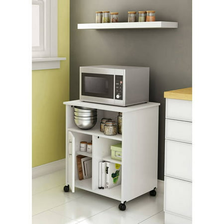 South Shore Smart Basics Microwave Cart With Storage On