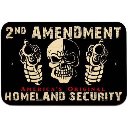 Skull with Guns 2nd Amendment America's Original Homeland Security Sign