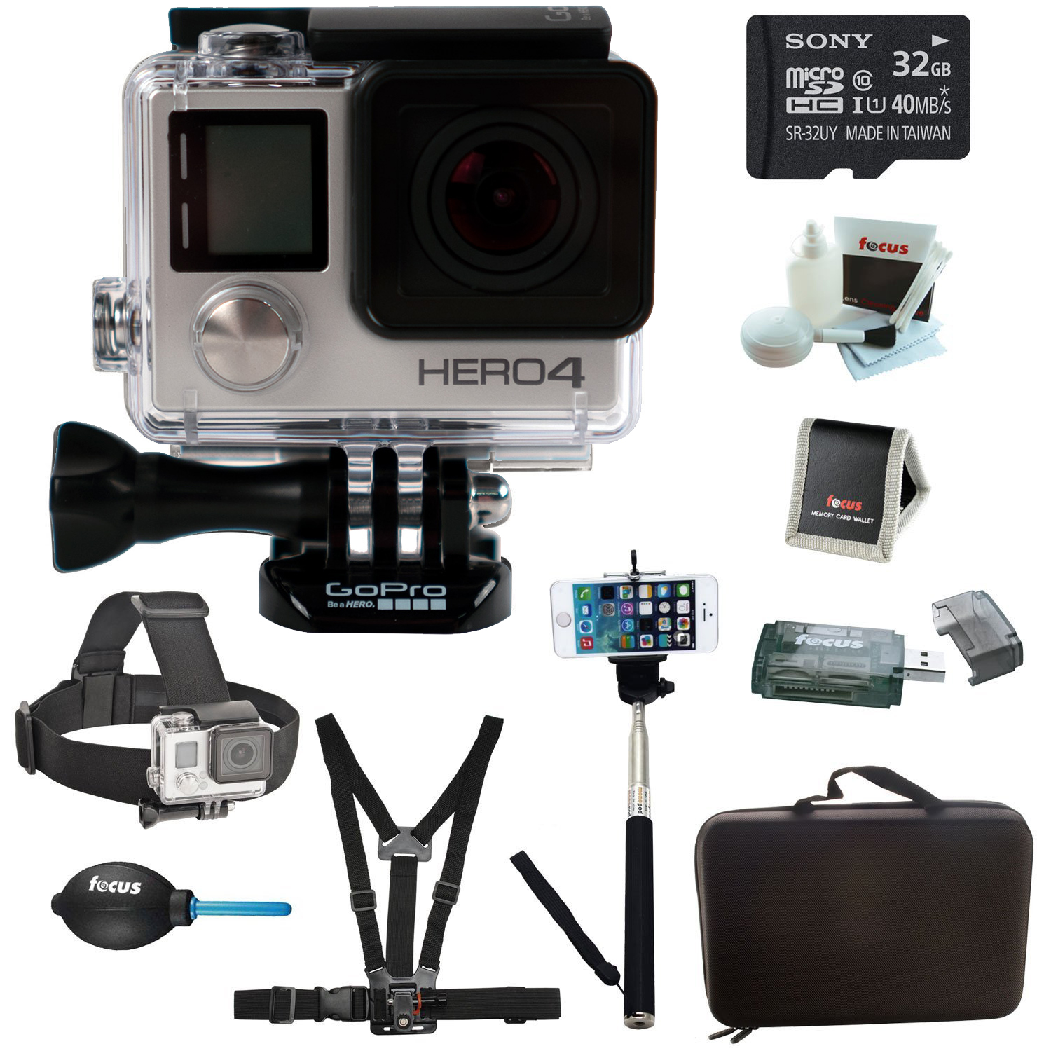 GoPro HERO4 BLACK Edition Camera HD Camcorder With Sony m...