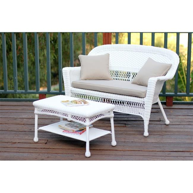 Jeco W00206-LCS006 White Wicker Patio Love Seat And Coffee Table Set With Tan Cushion