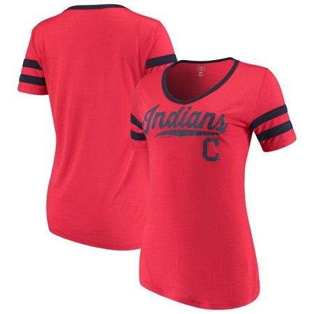 - Women's New Era Red Cleveland Indians Jersey V-Neck T-Shirt