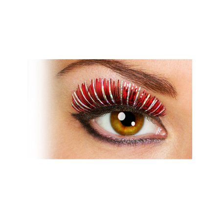 Women's  Red and Silver Sparkle Holographic Fake Costume Eyelashes