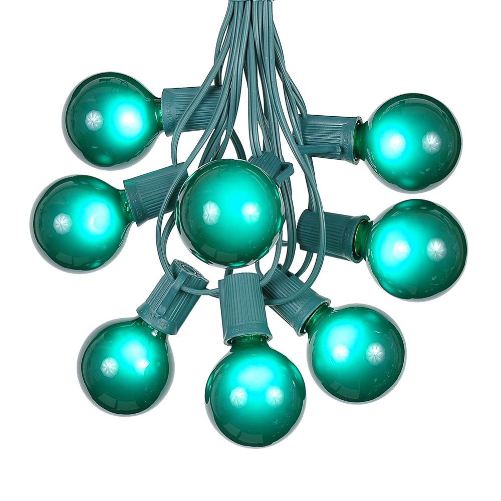 G50 Patio String Lights with 25 Clear Globe Bulbs – Outdoor String Lights – Market Bistro Café Hanging String Lights – Patio Garden Umbrella Globe Lights - Green Wire - 25 Feet