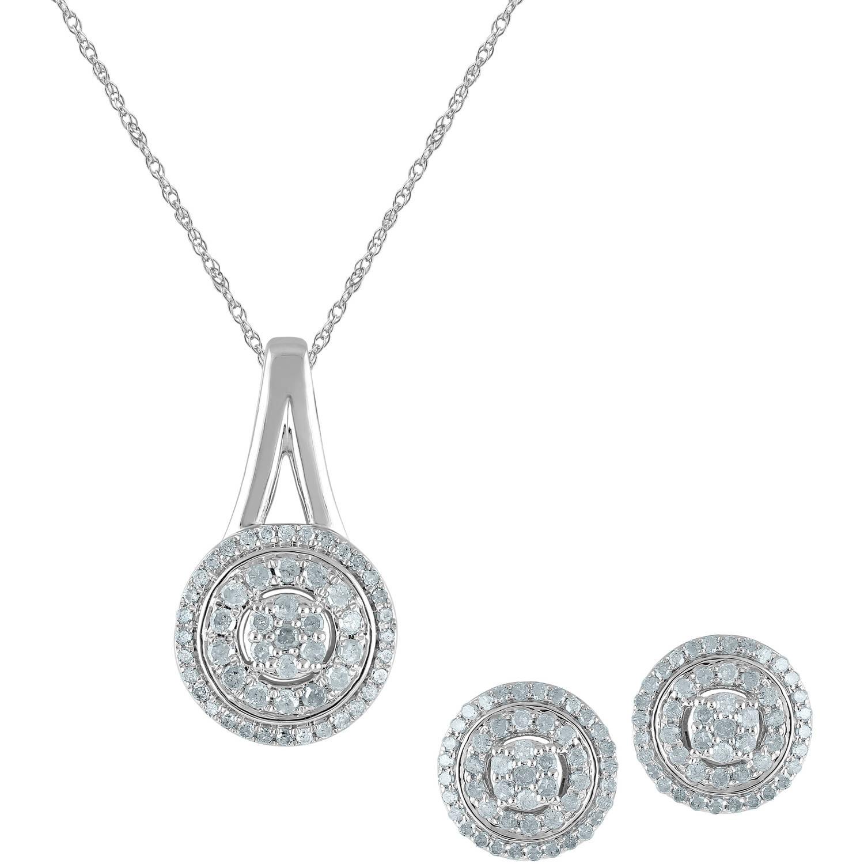 1 Carat T.W Diamond Sterling Silver Pendant and Earring Three-Piece Box Set by TARA JEWELS LTD