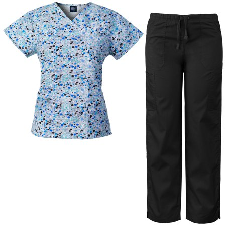Medgear Women's Scrubs Set Multi-Pocket Top & Pants, Medical Uniform DIBL