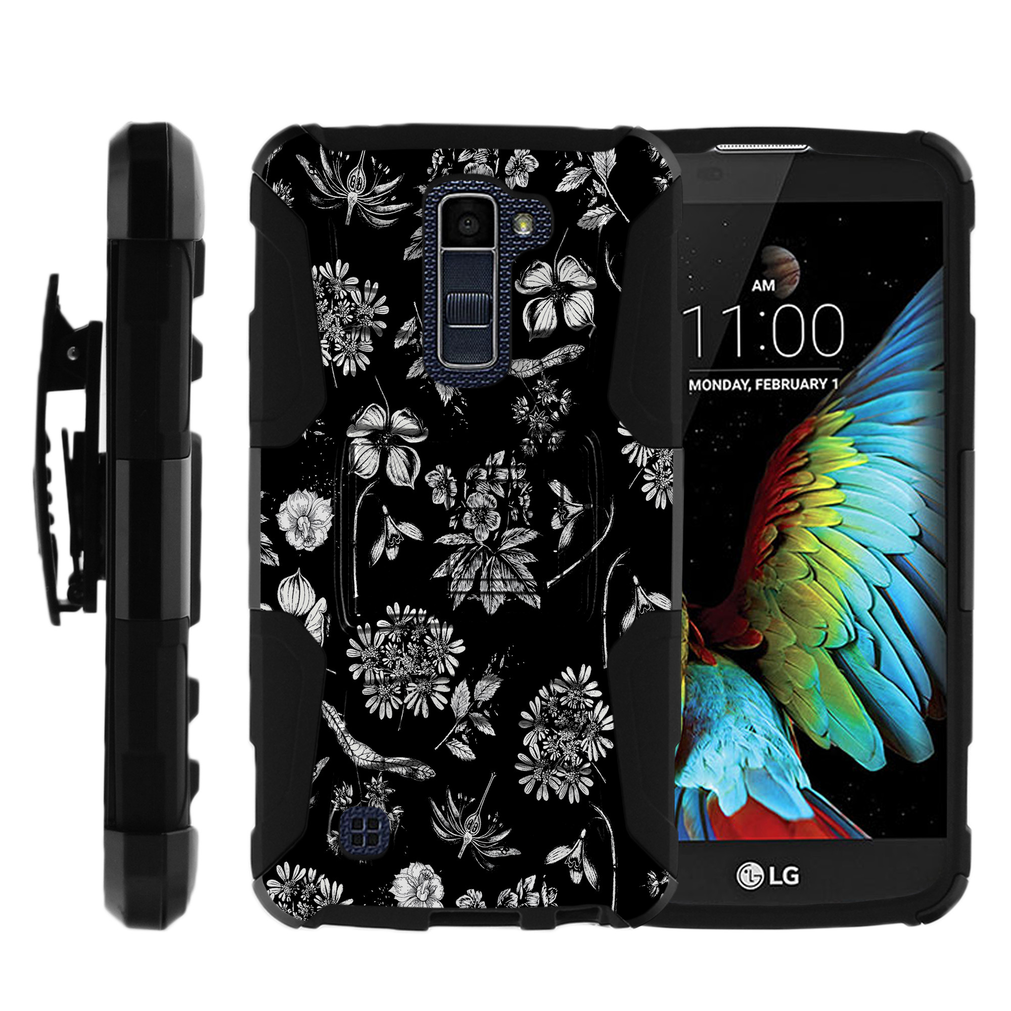 LG K10 and LG Premier LTE Miniturtle® Clip Armor Dual Layer Case Rugged Exterior with Built in Kickstand + Holster - Sir Arthur Skull