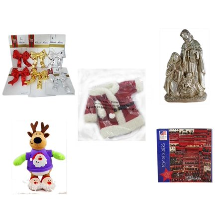 Christmas Fun Gift Bundle [5 Piece] - Brite Star Classic Trims Bow Ornament Set of 6 - Silver Glitter Nativity Scene - 2011 Avon Santa Outfit Wine Bottle Cover  - Santa Reindeer  With Gift Card Hold