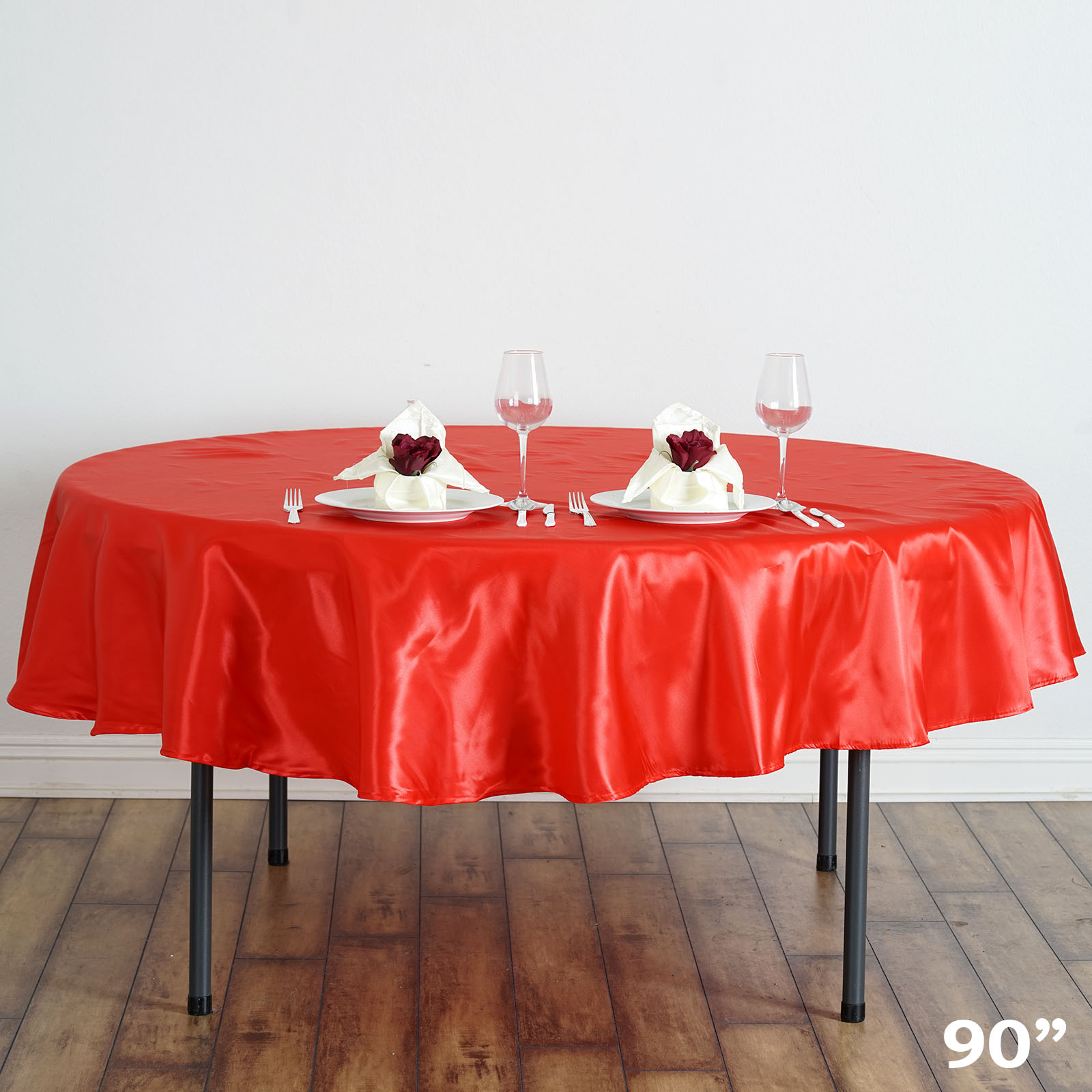 "Efavormart 90"" Round Satin Tablecloth for Kitchen Dining Catering Wedding Birthday Party Decorations Events"