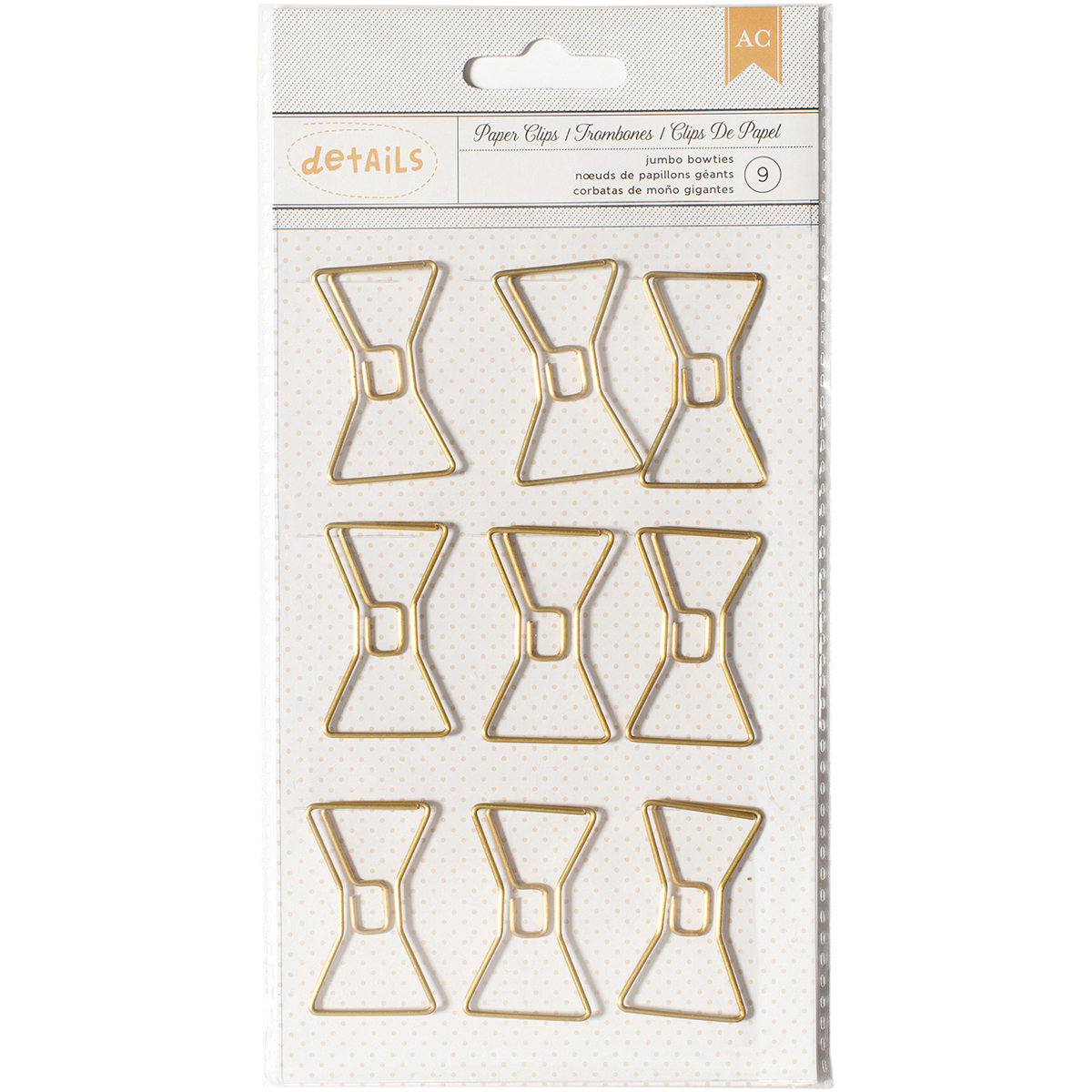 Designer Desktop Essentials Jumbo Paper Clips 9/Pkg-Bowtie, Pk 3