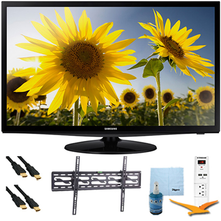 "Samsung 28"" LED HD 720p TV Clear Motion Rate 120 Tilt-Mount & Hook-Up Bundle - UN28H4000. Bundle Includes TV, Tilting TV Mount, 3 Outlet Surge protector w/ 2 USB Ports, 2 -6 ft High Speed HDMI Cables,"