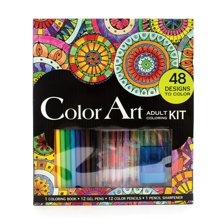 Leisure Arts Inc Color Art for Everyone Adult Coloring Book Kit, 26