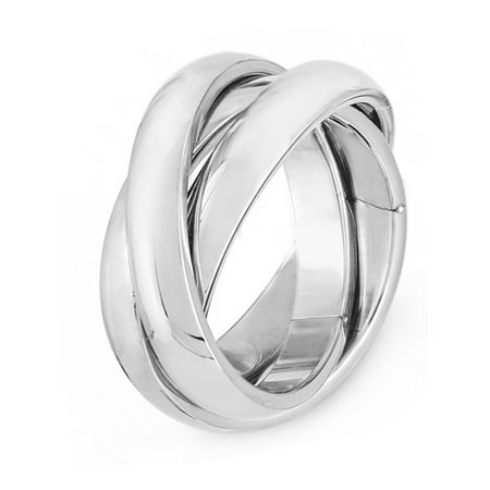 Triple Rolling Rings (Stainless Steel Triple Rolling Intertwined Bands)