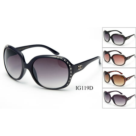 2 Pairs Newbee Fashion - IG119D Rhinestone Womens Plastic Fashion Sunglasses (Bulk Plastic Sunglasses)