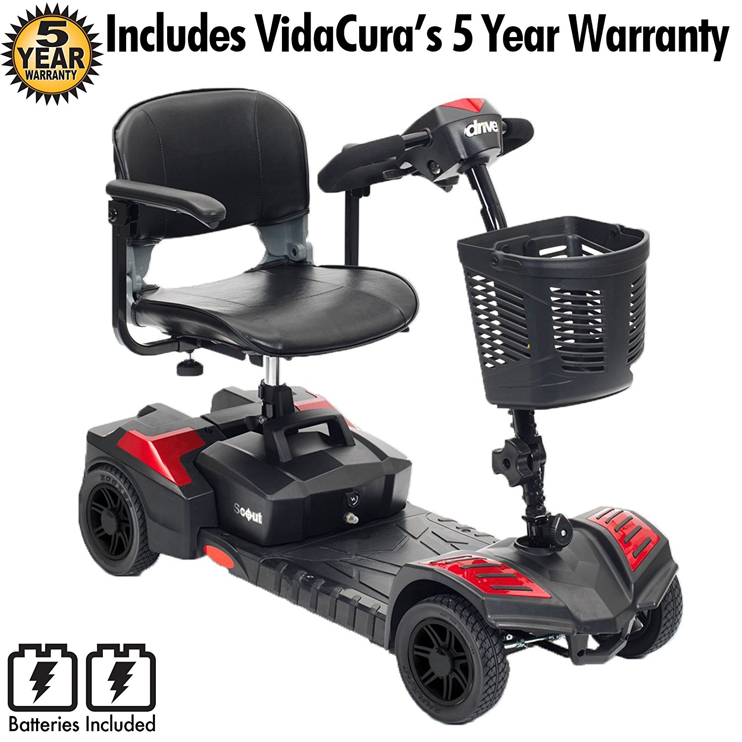 Drive Medical Spitfire Scout 4 Transportable Scooter Including VidaCura's Extended 5-Year Warranty