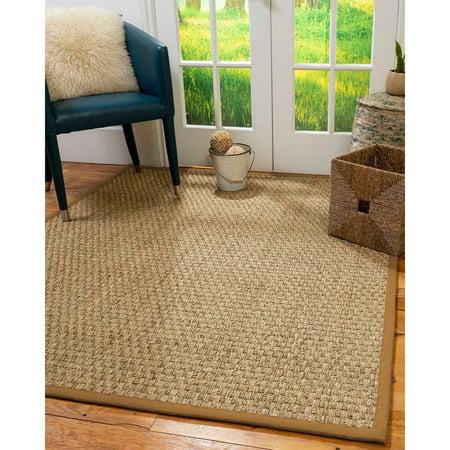 - Natural Area Rugs  100%, Natural Fiber Handmade Basketweave, Natural Seagrass Rug (2' X 3'), Doe Border - 2' x 3'