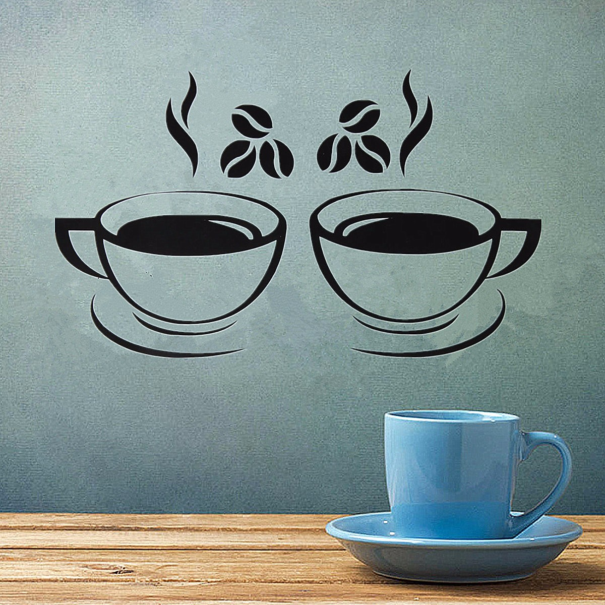 2 Coffee Kitchen & Dining Cups Kitchen Wall Stickers Art Vinyl Decal Restaurant Pub Cafe Home Decor Waterproof