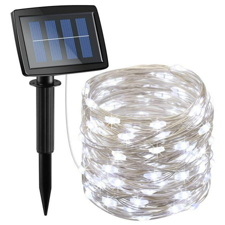 Solite Outdoor String Lights?100 LED Solar Fairy Lights 33 feet 8 Modes Copper Wire Lights Waterproof Outdoor String Lights for Garden Patio Gate Yard Party Wedding Indoor Bedroom (Solar Cool White) ()