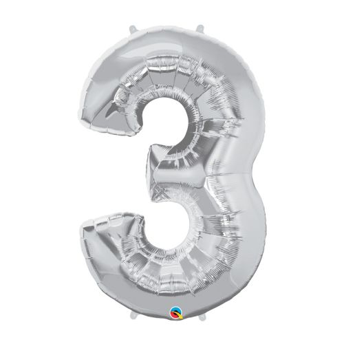 """Way to Celebrate 44"""" Number 3 Silver Foil Balloon"""
