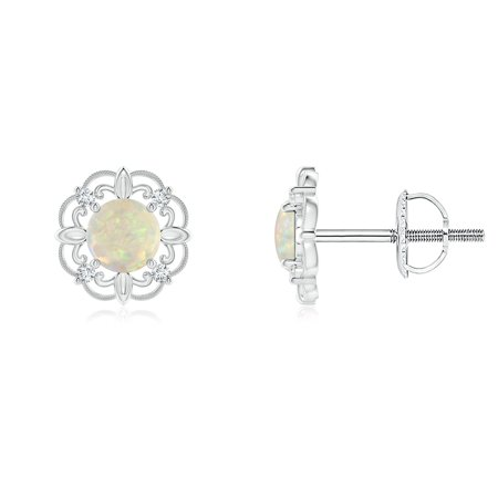 Women S Day Vintage Style Opal And Diamond Fleur De Lis Earrings In 14k White