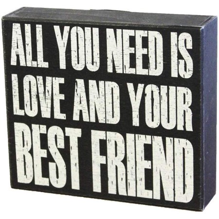 JennyGems Wooden Box Sign - All You Need Is Love And Your Best Friend - Gift For Best Friends - Friendship Sign Quotes (Wedding Gifts For Your Best Friend)