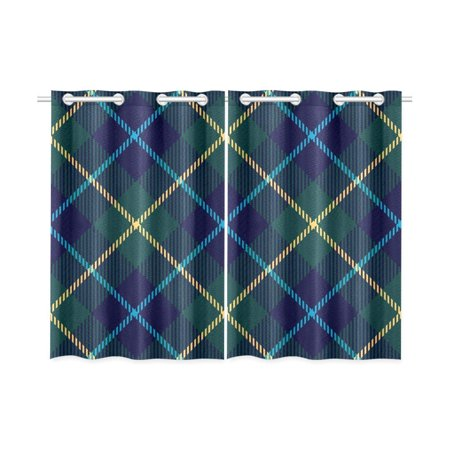 MKHERT Plaid Blackout Window Curtain Kitchen Curtain 26x39 inch, 2 Panels ()