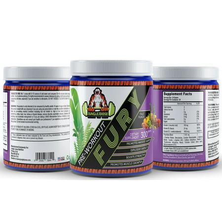 Jungle Joose FURY PreWorkout 300 Grams 30 Servings Creatine Caffeine Fruit