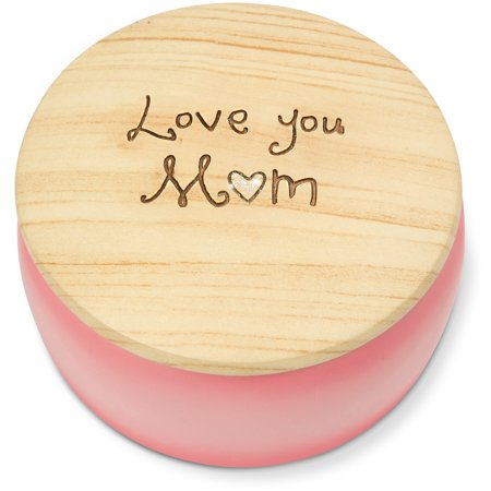 Pavilion - Love You Mom Round Pink Butterfly Keepsake Jewelry Box