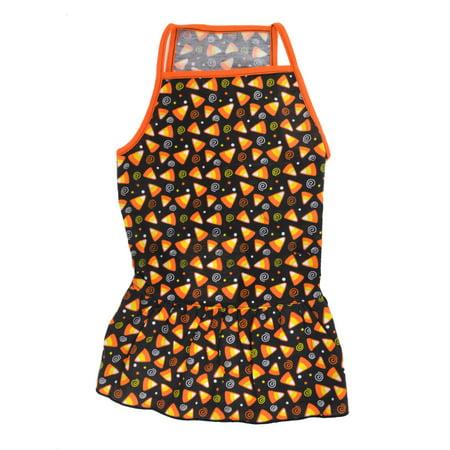Unique Bargains Pet Dog Yorkie Spiral Printed Sleeveless Spaghetti Top Dress Black Orange XL](Hot Dog Spaghetti Halloween)
