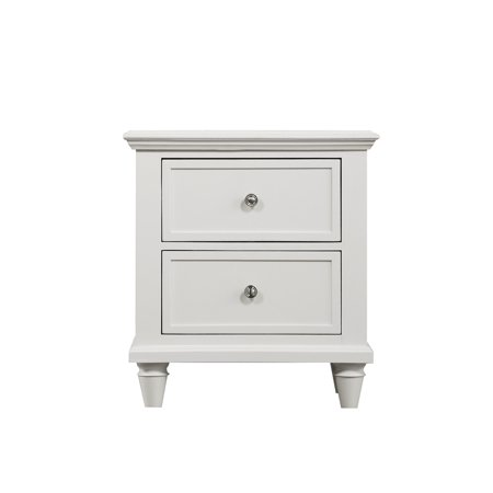 Emerald Home Decor IV White Nightstand With Turned Wood Legs And Brushed Nickel Hardware 2 Drawer