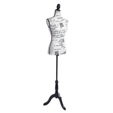 UBesGoo Female Mannequin Torso Body Dress Form with Black Adjustable Tripod Stand, 52.3'-66.2' Adjustable Height Non-Straight Pinnable for Pants Clothing Dress Jewelry Display ()