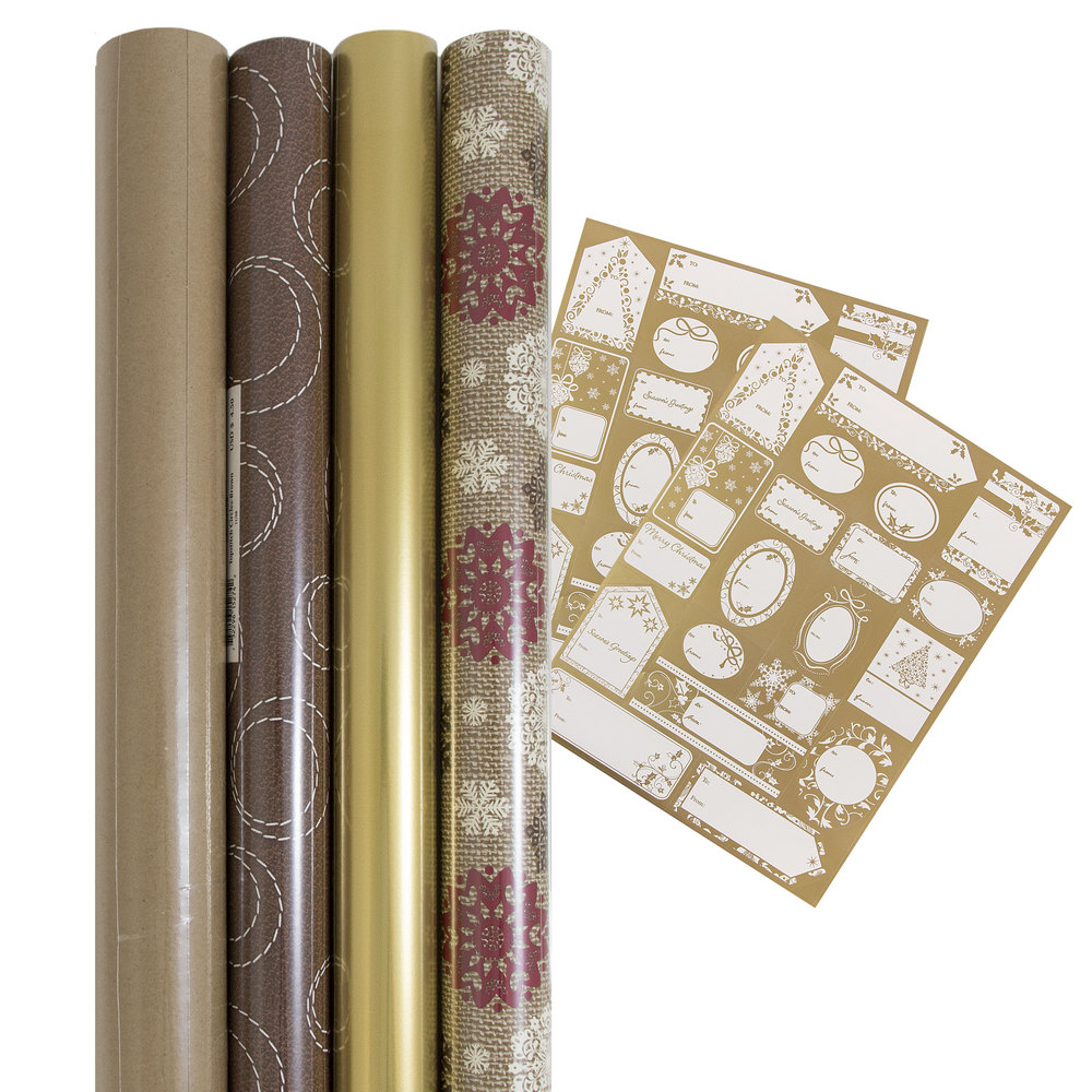 JAM Paper Gift Wrapping Bundle - Golden Brown Holiday - 4 Rolls of Wrapping Paper (100 sq ft) / 1 Pack of Name Labels