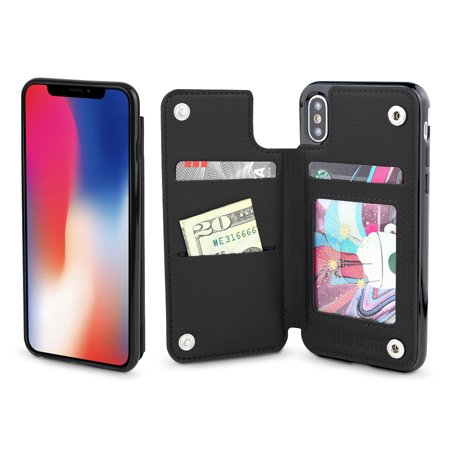 Gear Beast iPhone X Wallet Case, Top View Flip Folio Case For iPhone X Slim PU Leather Cover 3 Slot Card Holder Including ID Holder Bumper Case For Men and Women With Bonus Screen Protector Blk Leather Like Cover