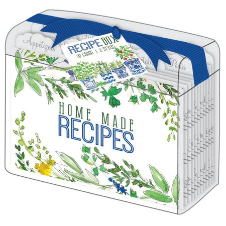 Rosanne Beck Collections Herbs Wildflowers Clear Acrylic Lucite Recipe Box with 10 Recipe Dividers and 20 Recipe Cards](Recipe Box And Cards)