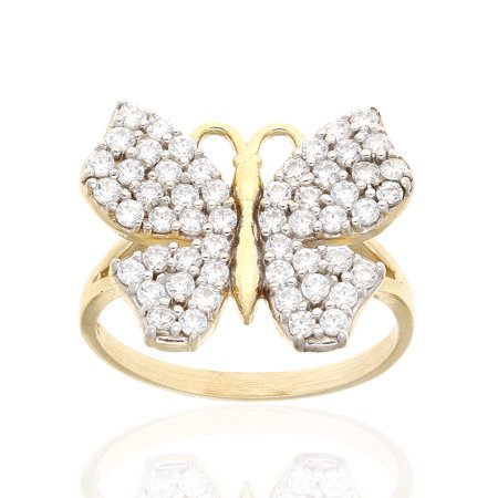 ca43bb25724e9 10k Yellow Gold Created Diamond Butterfly Cocktail Ring Size 5-8