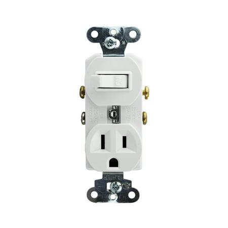 Pass & Seymour 691-W Combo Switch w Receptacle 120/125V 15A 1-Pole, Grounding, White